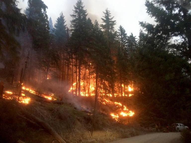 Photo by Annette McGee Rasch<br>Nighttime operations continue on the Klondike fire, burning northwest of Selma.<p></p>
