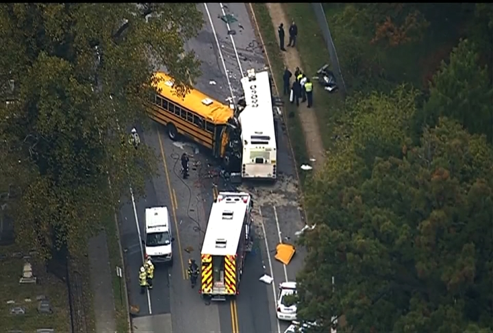 Police confirm six have died in a southwest Baltimore crash involving two buses.