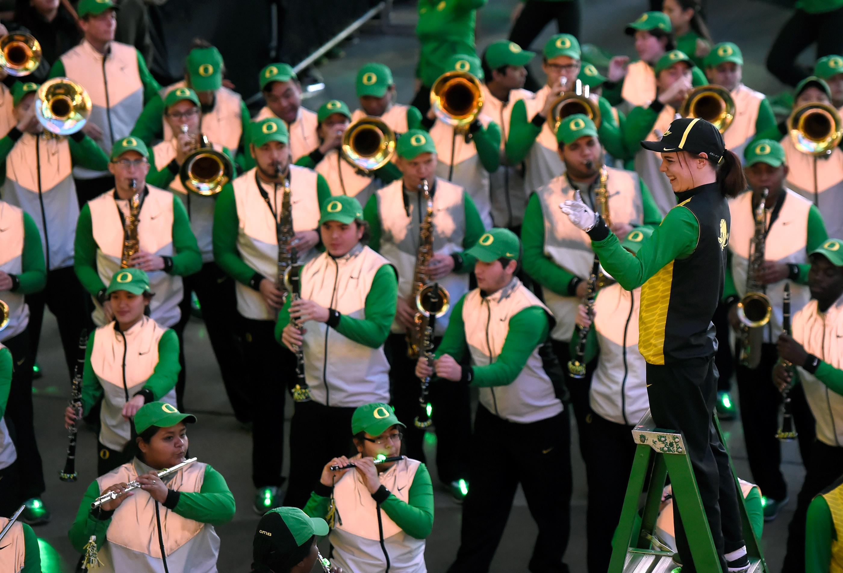 The Oregon marching band participates during a pep rally at the Fremont Street Experience Friday, Dec. 15, 2017, in Las Vegas. The Boise State Bronco will take on the Oregon Ducks in the 26th edition of the Las Vegas Bowl at Sam Boyd Stadium on Saturday. CREDIT: David Becker/Las Vegas News Bureau