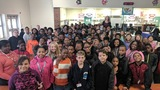 Chief Meteorologist Dana Fulton visits Longleaf Middle School
