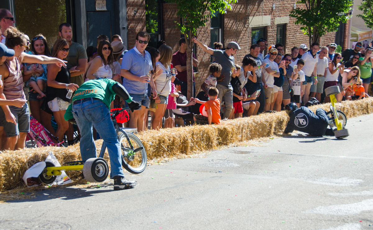 Danger Wheel 2017 took place on Saturday, July 29 in the neighborhood of Pendleton. It's an adult, downhill big wheel bike racing competition. / Image: Sherry Lachelle Photography // Published: 7.30.17