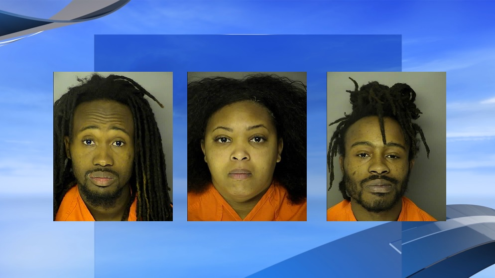 HCPD arrests three on drug charges. (HCPD photos / WPDE background)