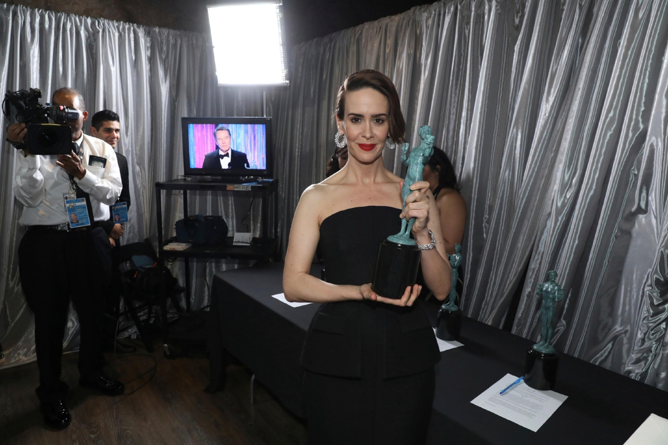 "Sarah Paulson, winner of the award for outstanding performance by a female actor in a television movie or limited series for ""The People v. O.J. Simpson: American Crime Story"", appears backstage at the 23rd annual Screen Actors Guild Awards at the Shrine Auditorium & Expo Hall on Sunday, Jan. 29, 2017, in Los Angeles. (Photo by Matt Sayles/Invision/AP)"