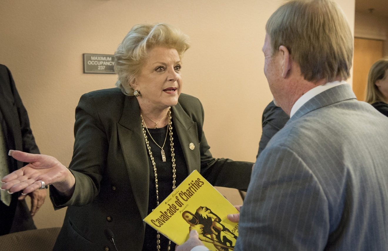 Mayor of Las Vegas Carolyn G. Goodman, left, greets Oakland Raiders owner Mark Davis following a meeting of the Southern Nevada Tourism Infrastructure Committee at the Stan Fulton Building, UNLV on Thursday, April 28, 2016.  (Mark Damon/Las Vegas News Bureau)