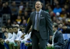Middle Tennessee head coach Kermit Davis reacts during the first half of an NCAA Tournament first round game against Minnesota Thursday, March 16, 2017, in Milwaukee.