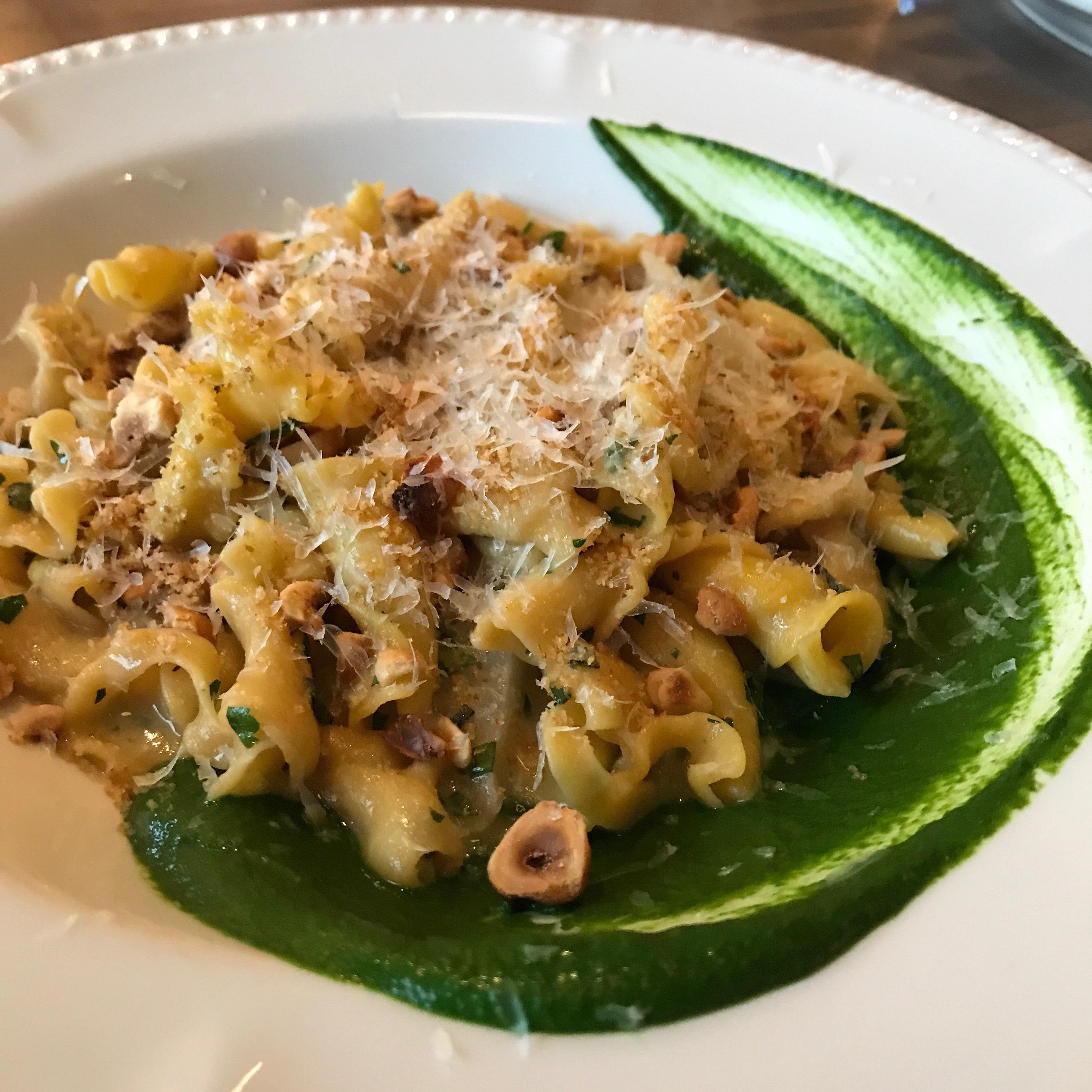 Executive Chef Kyle Bailey has also added several new dishes to his spring menu, such as the sweet potato campanelle with housemade ricotta, salsify, spinach, hazelnuts, and parm. (Image: Courtesy The Salt Line)