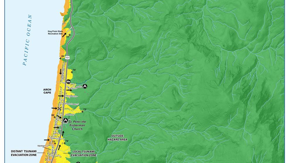 Tsunami evacuation maps outline safe routes on Oregon and