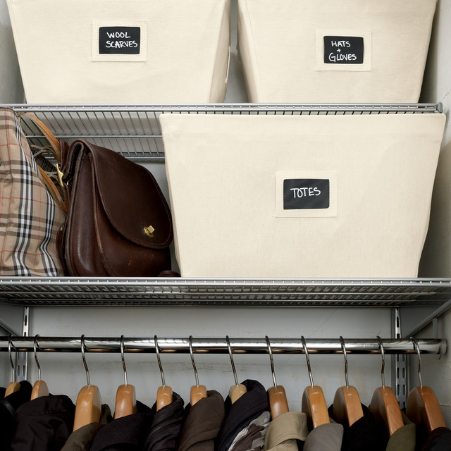 It is always good to label your storage boxes, this ways things are easily accessible. (Photo: The Container Store)