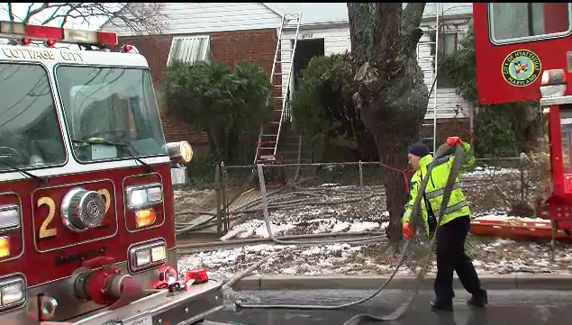 Firefighters are on the scene of a house fire in Hyattsville, Md.,Tuesday, Feb. 16, 2016. (ABC7 photo)