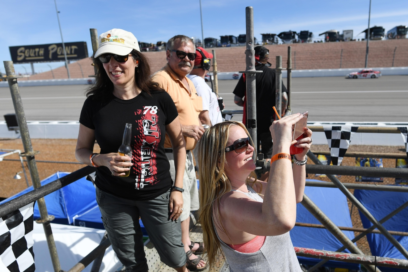 Race fans watch the action from the top of scaffolding during the Monster Energy NASCAR Cup Series Kobalt 400 Sunday, March 12, 2017, at the Las Vegas Motor Speedway. (Sam Morris/Las Vegas News Bureau)