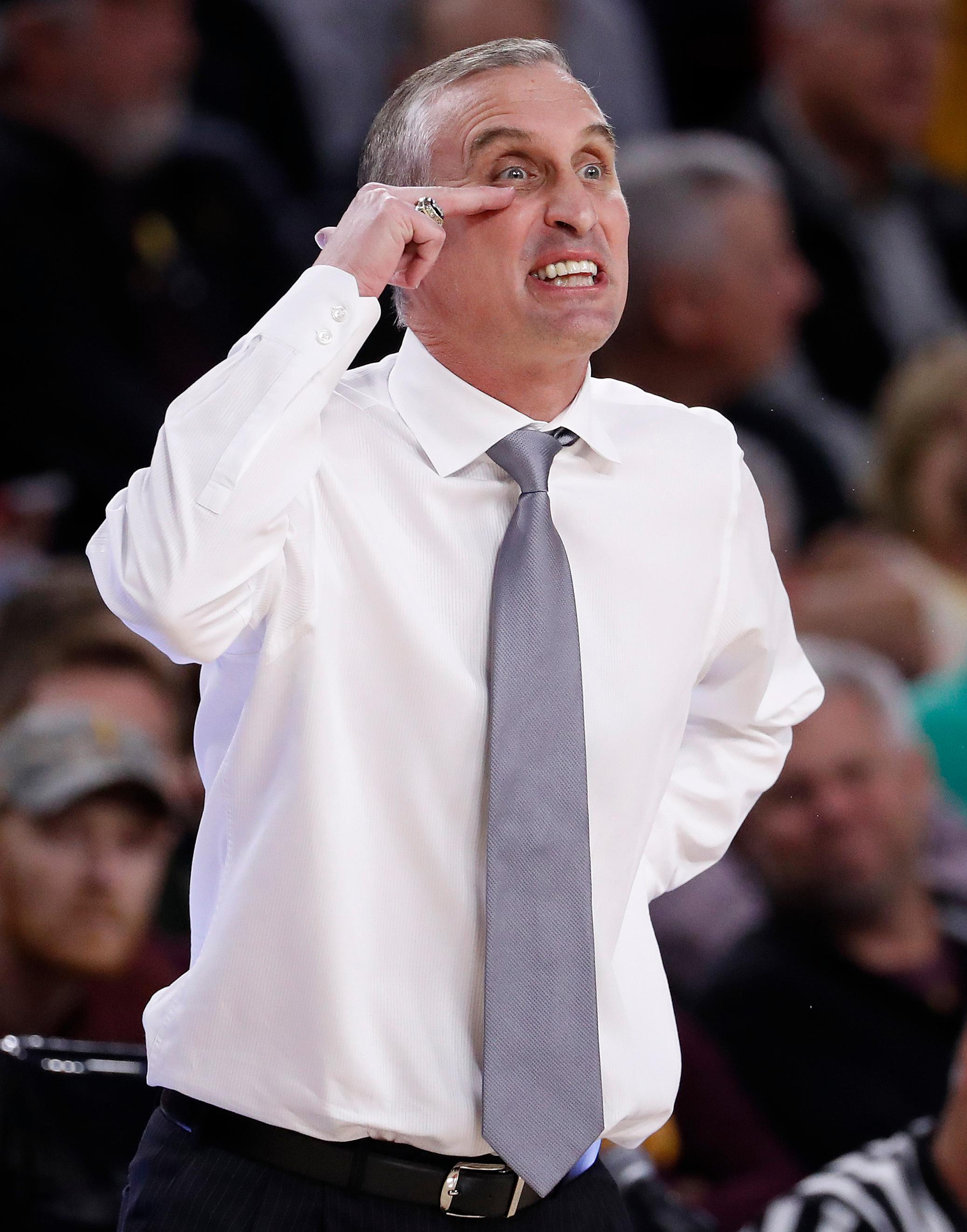 Arizona State head coach Bobby Hurley yells to his team during the first half of an NCAA college basketball game against Utah, Thursday, Jan. 25, 2018,in Tempe, Ariz. (AP Photo/Matt York)