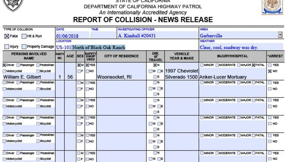 Ca Highway Patrol Incident Report
