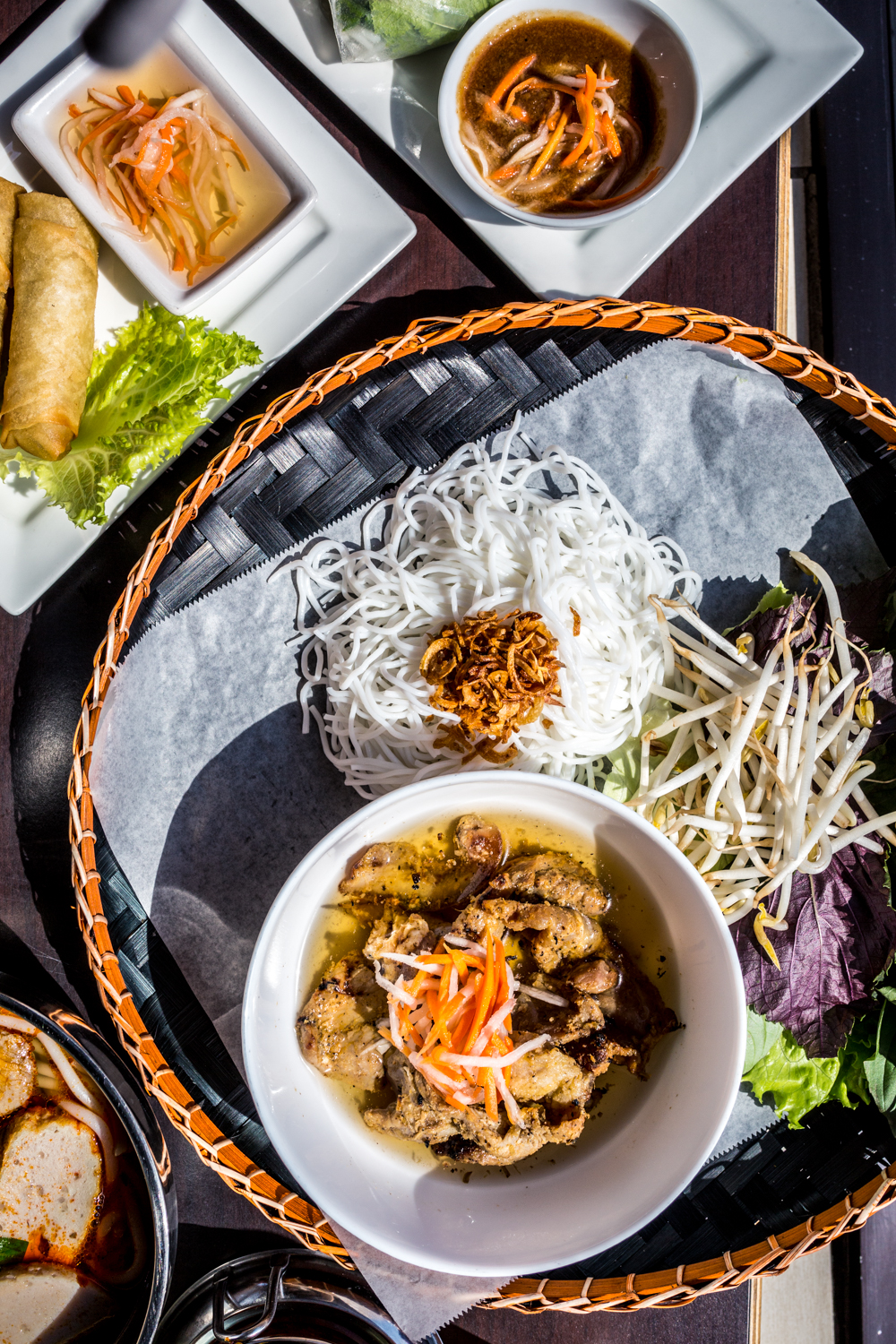 The restaurant serves lunch from 11 AM-2 PM, and dinner from 4-9 PM on Monday, Wednesday, and Thursday. On Fridays and Saturdays, its hours are 11 AM-9 PM. On Sundays, it's open from 10 AM to 7 PM. Saigon Noodle Bar isn't open on Tuesdays.