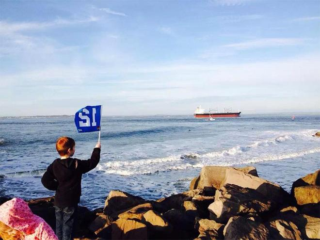 Waving the 12th man flag in Westport! (Nicole Matthews)