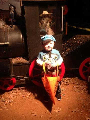 We went to the zoo last night. Great, safe place to go! My little man as Thomas standing in front of a train!