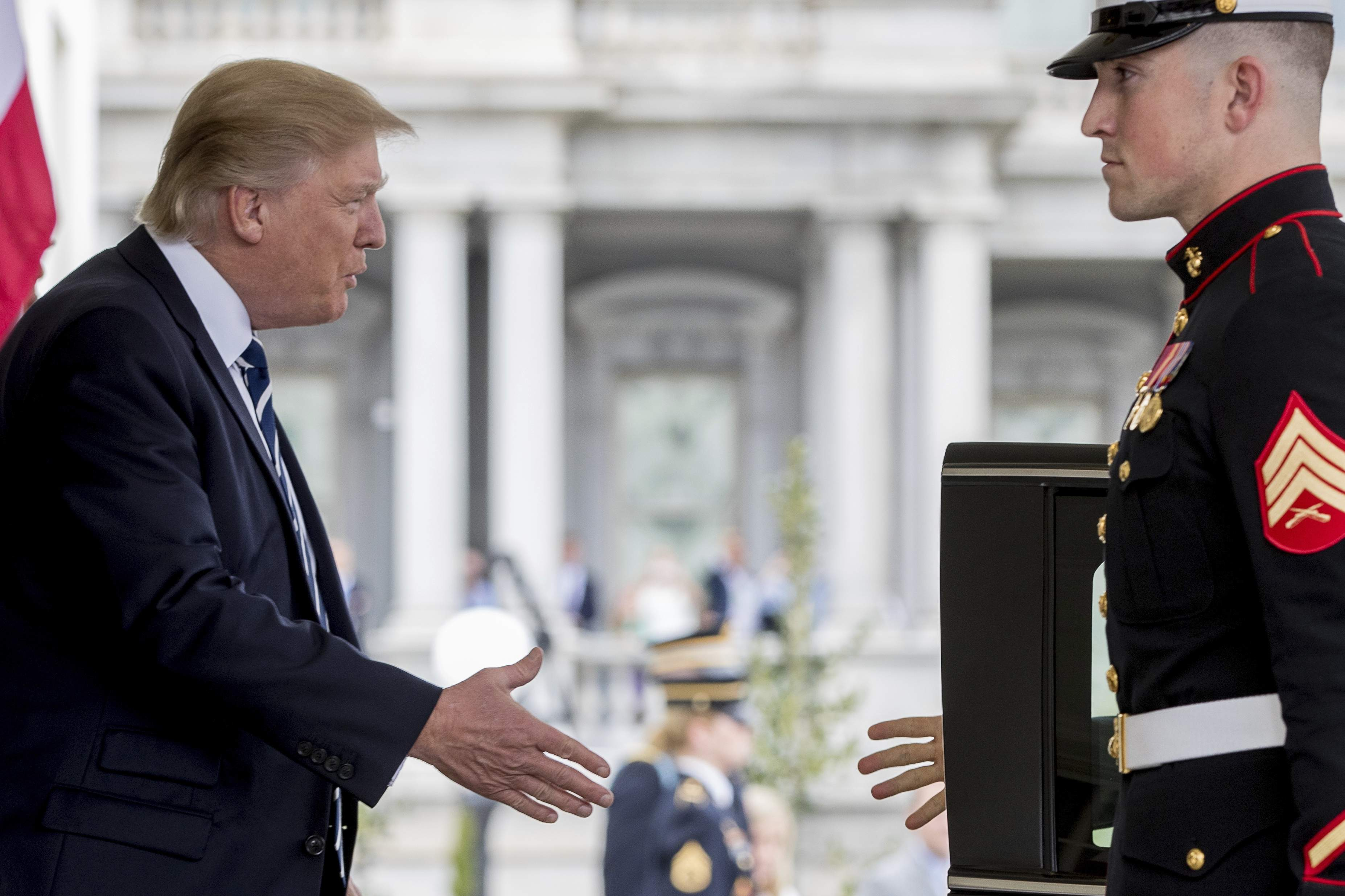 DAY 74 - In this April 3, 2017, file photo, President Donald Trump greets Egyptian President Abdel Fattah Al-Sisi as he arrives at the White House in Washington. (AP Photo/Andrew Harnik, File)