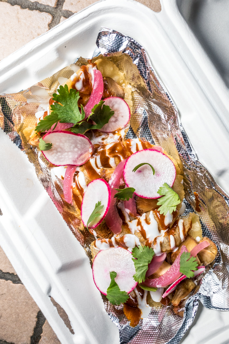 Puffy Tacos: radish, pickled red onion, xoco sauce, crema, and cilantro / Image: Catherine Viox // Published: 8.13.20