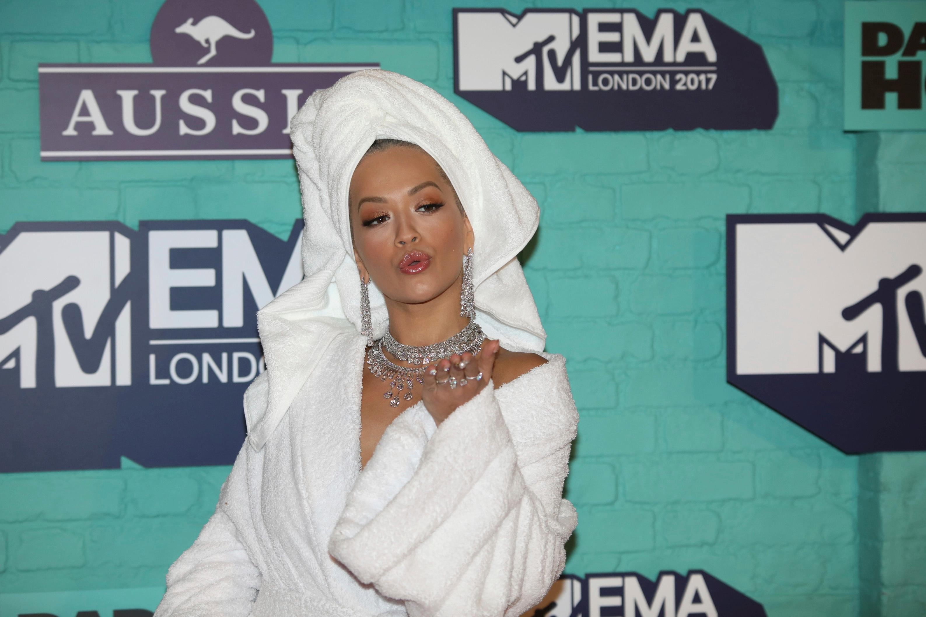 Singer Rita Ora poses for photographers upon arrival at the MTV European Music Awards 2017 in London, Sunday, Nov. 12th, 2017. (Photo by Vianney Le Caer/Invision/AP)