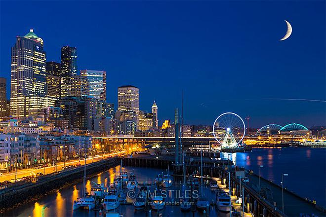 Seattle Waterfront at Twilight (Photo Courtesy: Jim Stiles)