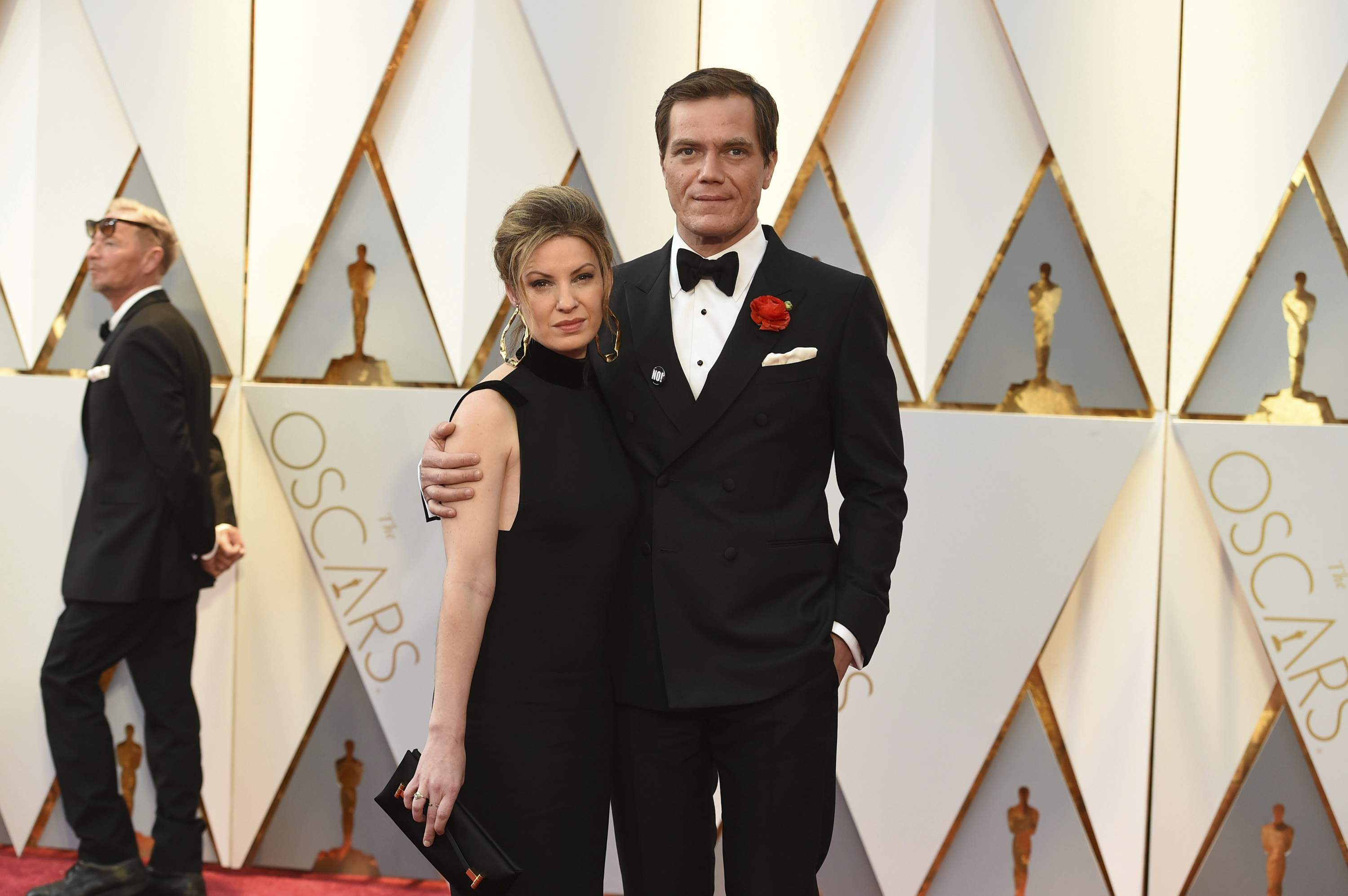 Kate Arrington, left, and Michael Shannon arrive at the Oscars on Sunday, Feb. 26, 2017, at the Dolby Theatre in Los Angeles. THE ASSOCIATED PRESS