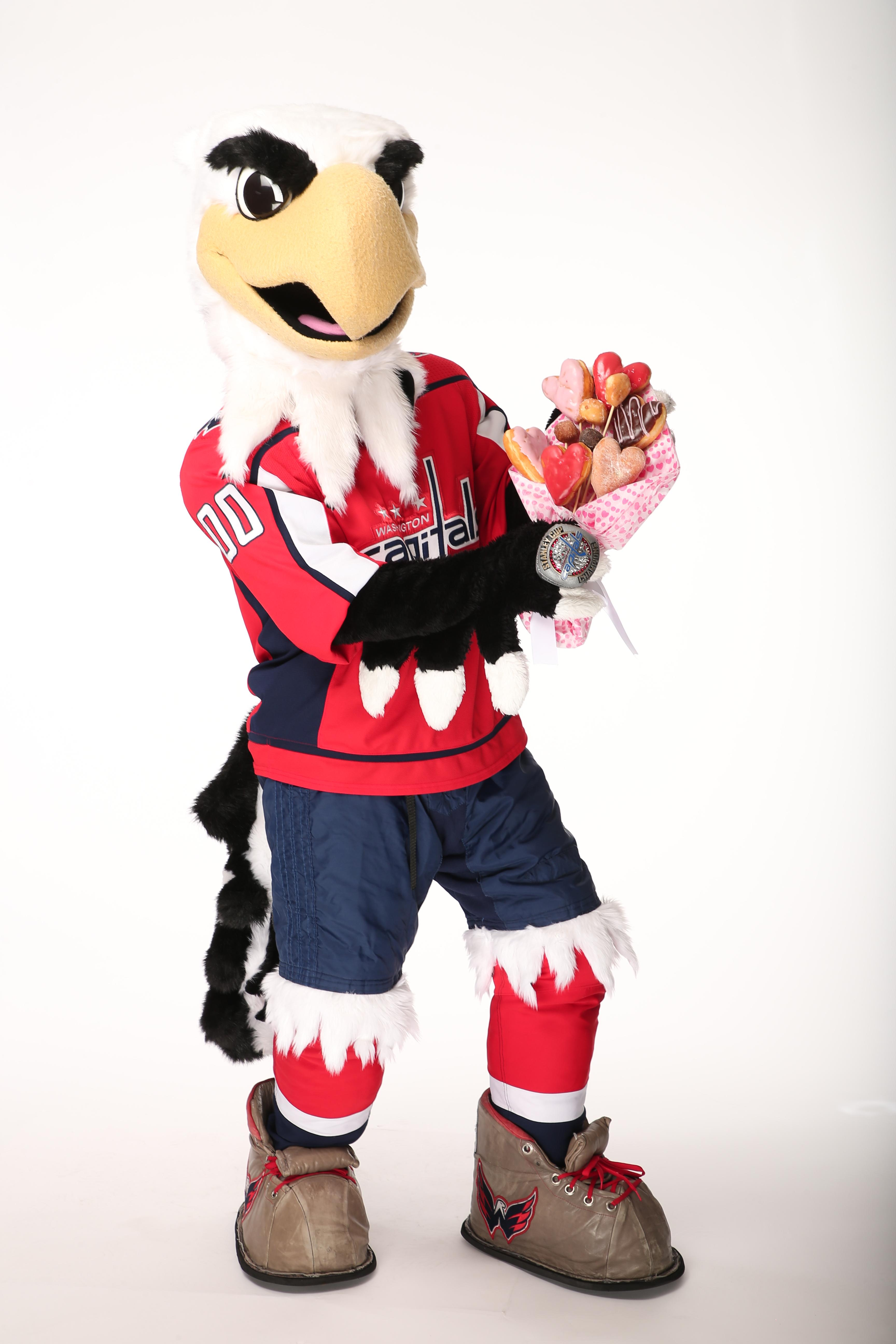 "Slapshot wil deliver a special ""Valentine's Day Gram"" including Caps tickets, a Caps scarf, a bouquet of Dunkin' donuts, a pound of Dunkin' coffee and a $25 Dunkin gift card. (Image: Courtesy Washington Capitals)"