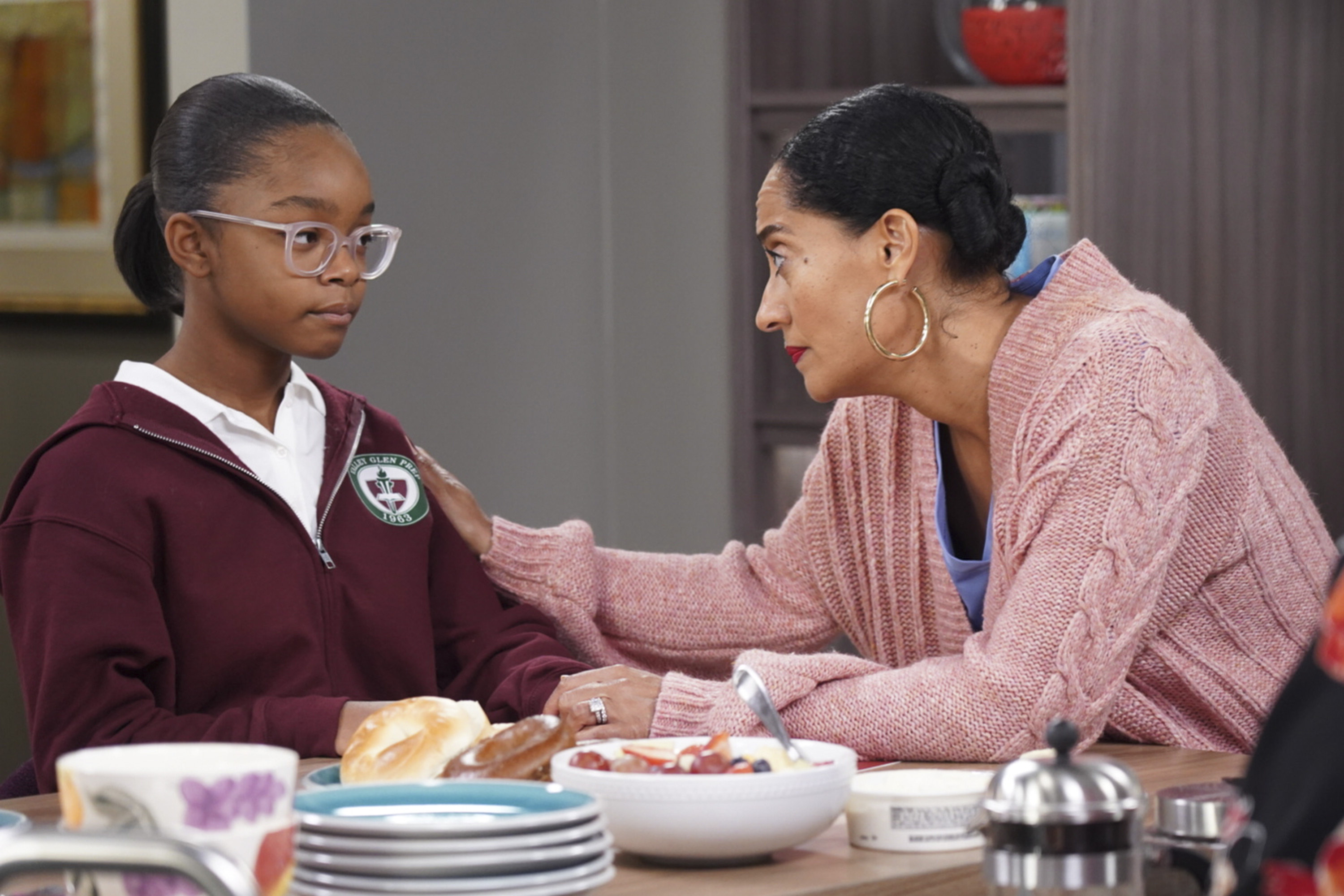 "This image released by ABC shows Marsai Martin, left, and Tracee Ellis Ross in a scene from ""black-ish.""{ } (Ron Tom/ABC via AP)"