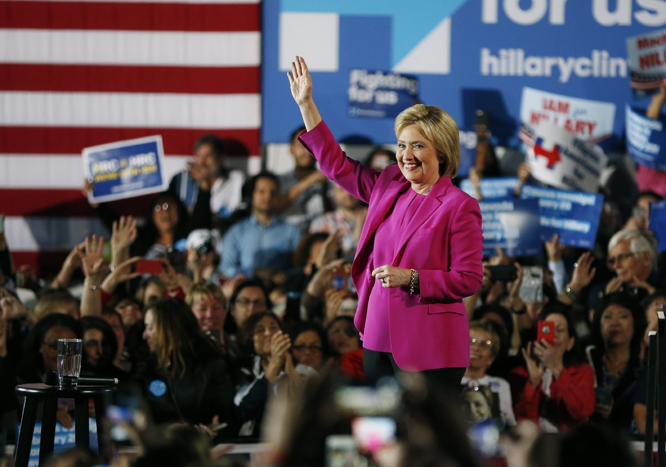 Democratic presidential candidate Hillary Clinton speaks at a rally Thursday, Feb. 18, 2016, in Las Vegas. (AP Photo/John Locher)