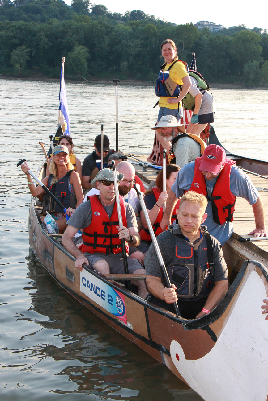 The 18th annual Ohio River Paddlefest was held on Saturday, August 3, 2019. Thousands paddled down the Ohio River for several hours, leaving from Schmidt Field Recreational Complex and ending at Gilday/Riverside Recreational Complex. The event benefited Adventure Crew, an organization that makes outdoor activities like kayaking and rock climbing free to school-age teens in 22 Cincinnati and NKY schools. / Image: Richard Sanders MD, Rock Doc Photo // Published: 8.5.19