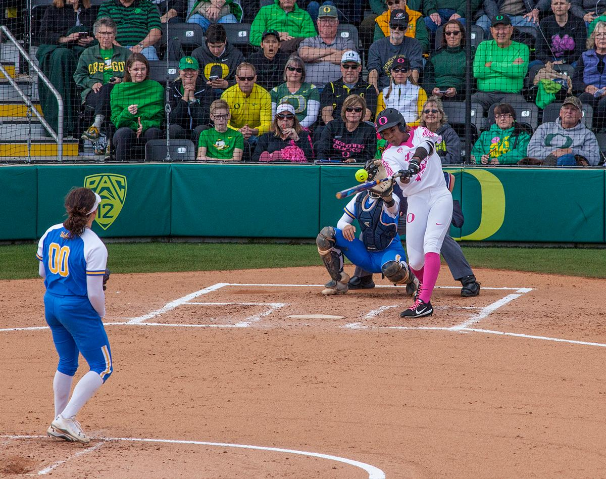 The University of Oregon Ducks shortstop DJ Sanders (#37) takes a swing at a pitch from UCLA Bruins pitcher Rachel Garcia (#00). The University of Oregon Ducks defeated the UCLA Bruins 3-0 in the final game of a three-game series Sunday afternoon at Jane Sanders Stadium. Shannon Rhodes hit a walk off three-run homer in the bottom of the 7th inning to win the game. The Ducks improved to 25-5 overall and 2-1 in Pac-12 play. Photo by William Tierney, Oregon News Lab