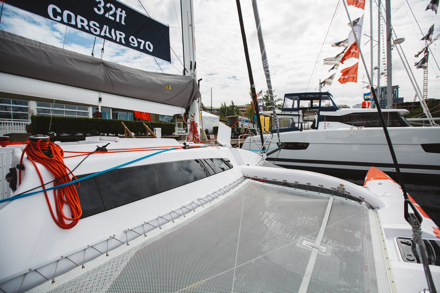 <p>With a fleet that encompasses over 225 vessels, the Boats Afloat Show located at Lake Union highlights some of the finest boats to grace the open waters. This 32' 2018 Corsair 970 Sport boasts a unique package with a foldable mast built for road trailering, and the ability to be at home racing, cruising, and passagemaking. Coming in at $258,000, this trimaran allows you the liberty of spending a weekend with the family, while also exceeding your sailing performance expectations. (Image: Ryan McBoyle / Seattle Refined)</p>