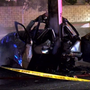 Bystanders rush to help man after he hits pole, car bursts into flames