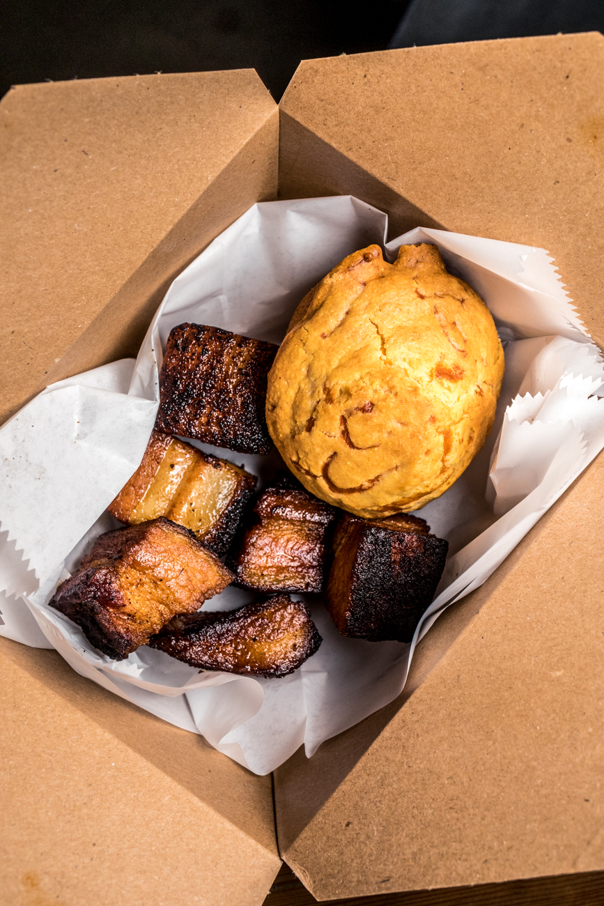 Smoked bellies with a cheddar corn muffin / Image: Catherine Viox{ }// Published: 6.17.20