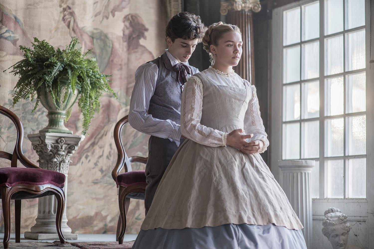 Timothée Chalamet and Florence Pugh in Columbia Pictures' LITTLE WOMEN.{ }(Image: Wilson Webb / Sony Pictures)