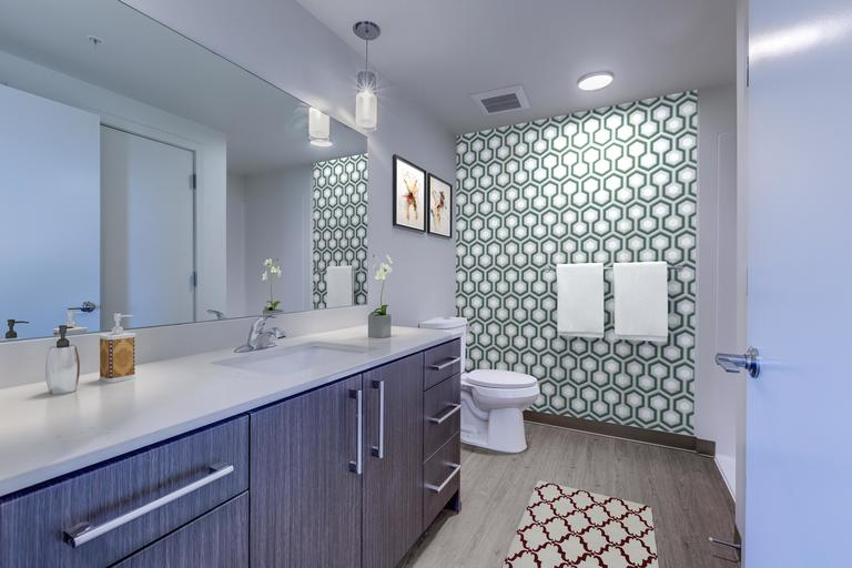 The Danforth bathrooms feature cabinetry in warm wood or cool gray, with and custom pendant lighting and fixtures.