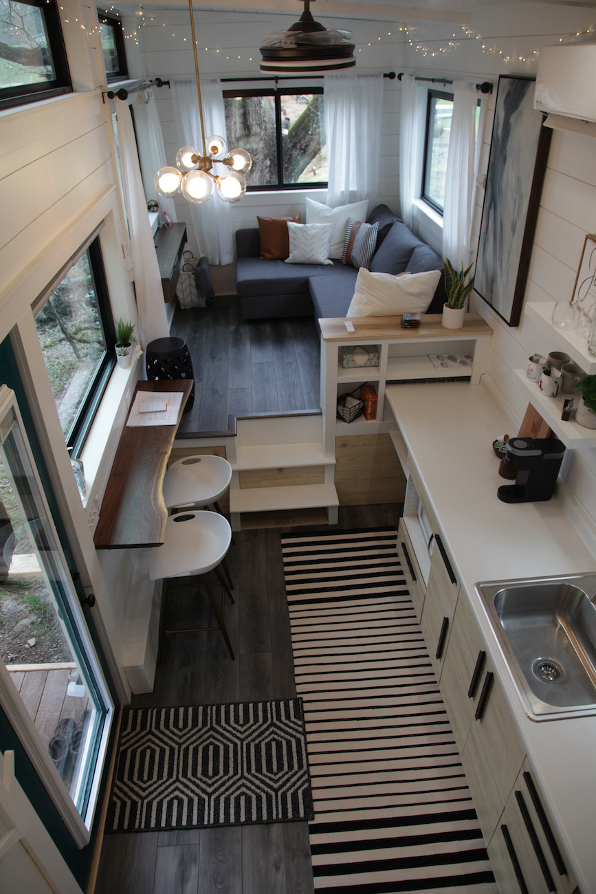 Juniper offers a chic yet thoughtfully efficient layout. Tiny houses are compact living spaces that make use of every possible space to ensure that you have everything you need in as small a space as possible. / Image: Chez Chesak // Published: 1.24.21