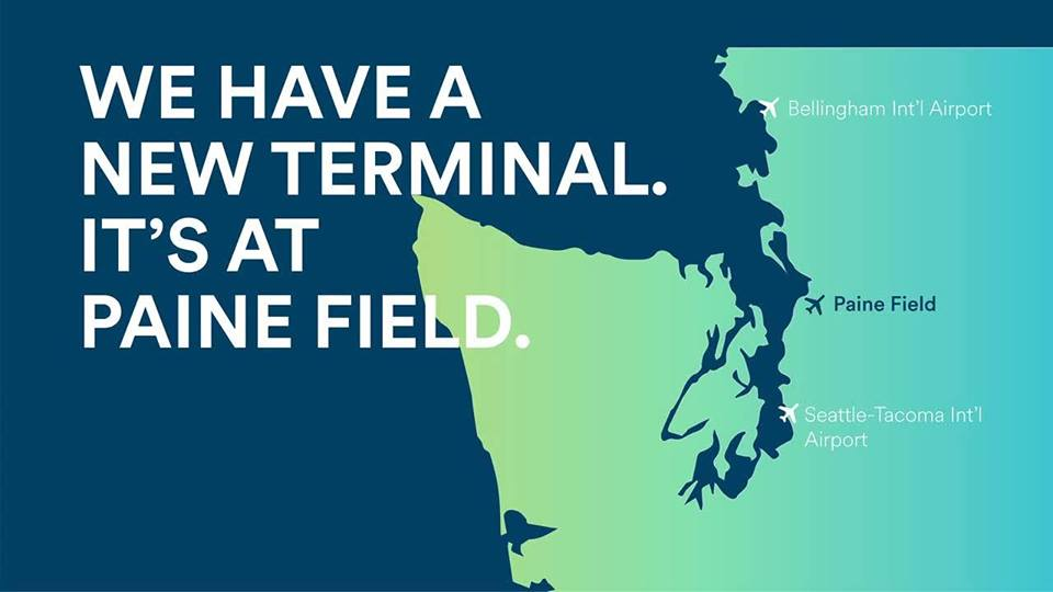 Alaska's new terminal comes to Everett! (Image: Fly Paine Field / Seattle Refined){ }
