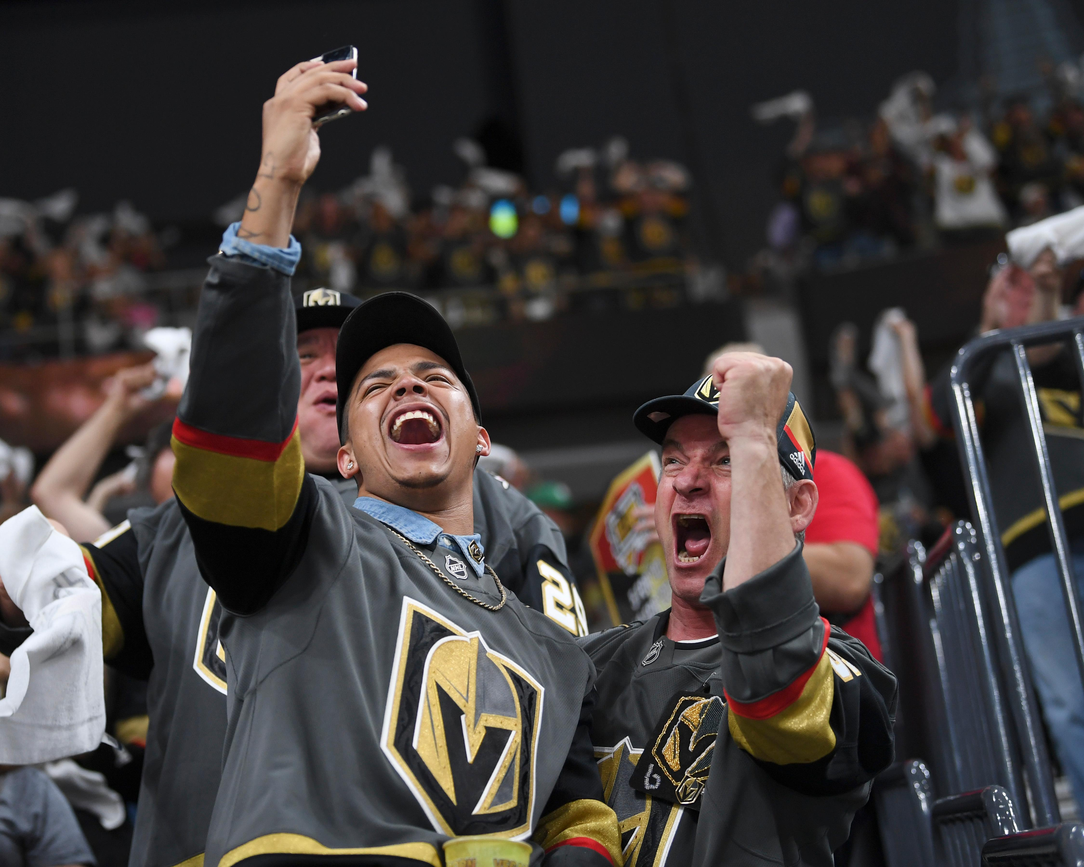 Vegas Golden Knights fans cheer after they scored a goal against the Winnipeg Jets during Game 4 of their NHL hockey Western Conference Final game Friday, May 18, 2018, at T-Mobile Arena. CREDIT: Sam Morris/Las Vegas News Bureau