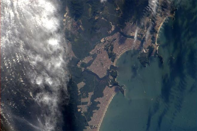 A nice day to hit the beach in Santos, Brazil (Photo & Caption courtesy Reid Wiseman (@Astro_Reid) and NASA)