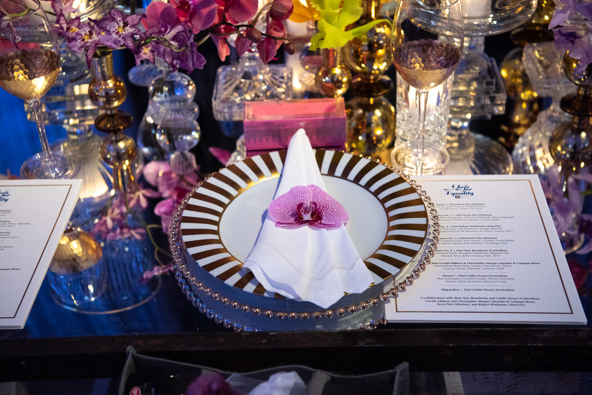 Christopher Vazquez and Rick Davis, of Amaryllis Floral + Event Design, took care of the evening's aesthetic including the table arrangements for the private chefs tables. (Image:{ }Jeff Martin for Human Rights Campaign)