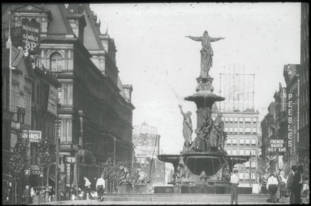 The Tyler-Davidson Fountain / DATE: Pre-1936 / COLLECTION: Public Library of Cincinnati and Hamilton County / Image courtesy of the digital archive of The Public Library of Cincinnati and Hamilton County // Published: 4.4.18