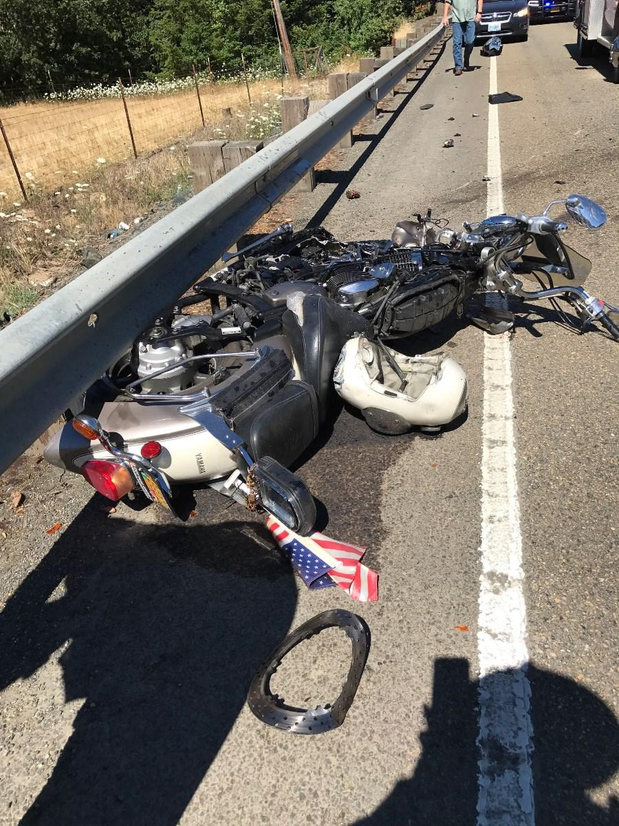 A motorcyclist crossed the center line in a curve and collided with an oncoming SUV Thursday afternoon, Oregon State Police said.  The rider suffered critical injuries, police said. He died after arriving at the hospital. (OSP)