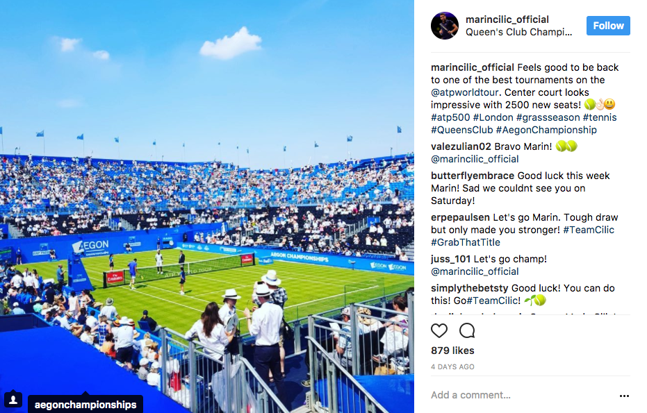 Marin Cilic celebrates being back at the Queens Club