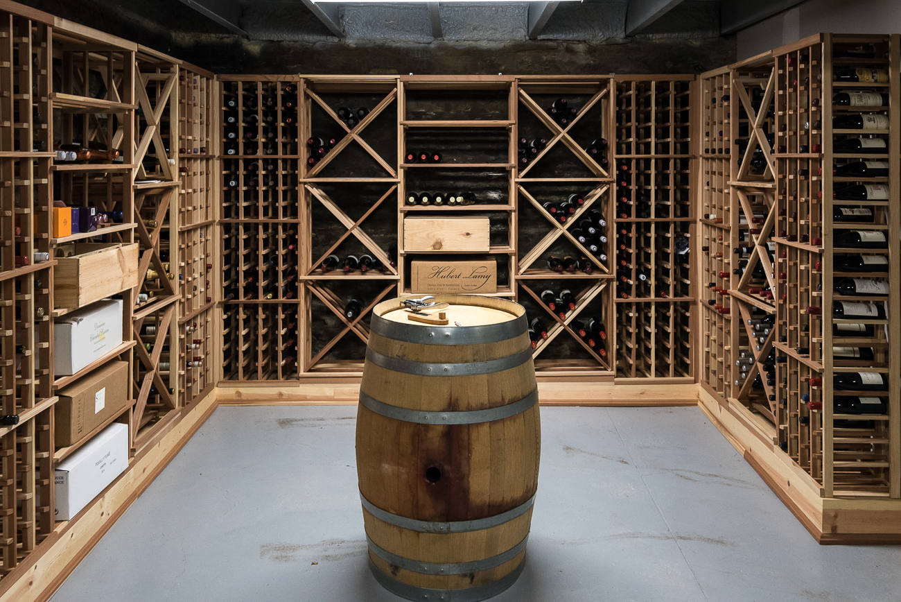 A wine cellar in the basement holds 1,200 bottles. / Image: Phil Armstrong, Cincinnati Refined // Published: 2.26.18