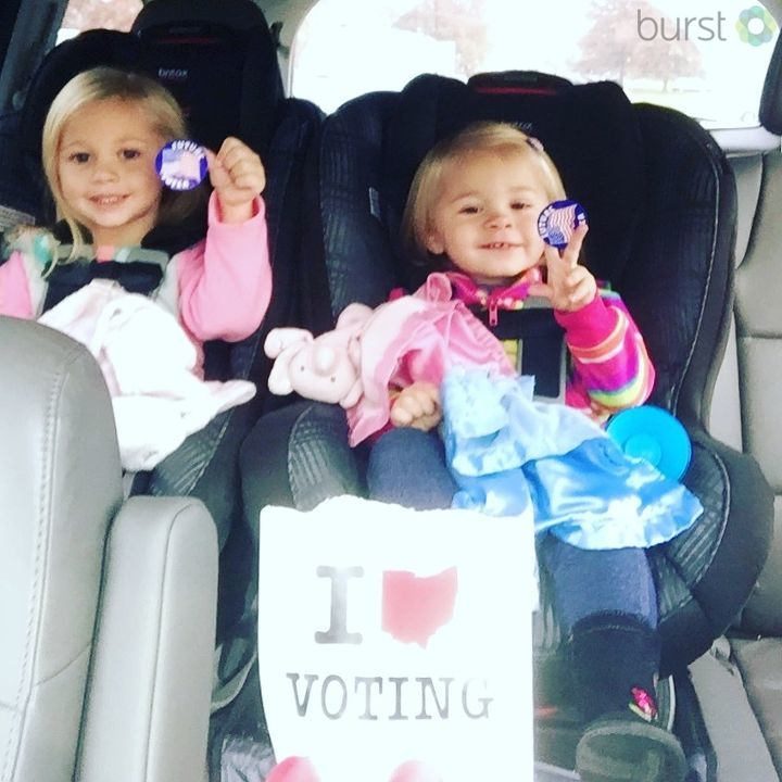 Jennifer says she took two future voters with her to the polls in McArthur, Ohio (submitted via Burst)